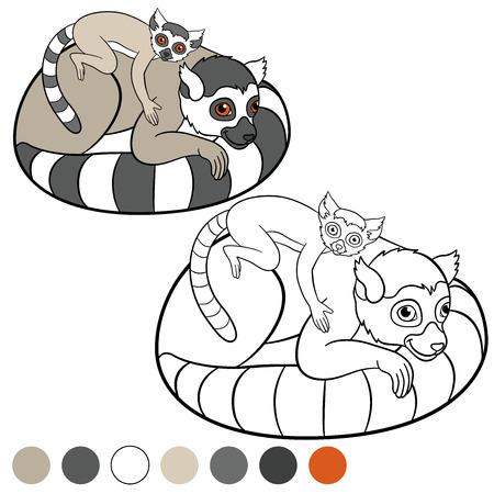 Color me: lemur. Mother lemur with her little cute baby. Illustration
