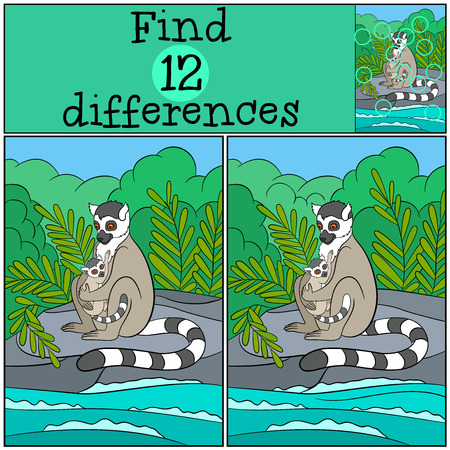 Educational game: Find differences. Mother lemur sits on the stones with her little cute baby.