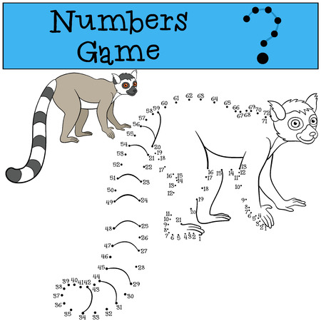 lemur: Educational game: Numbers game. Little cute lemur stands and smiles.