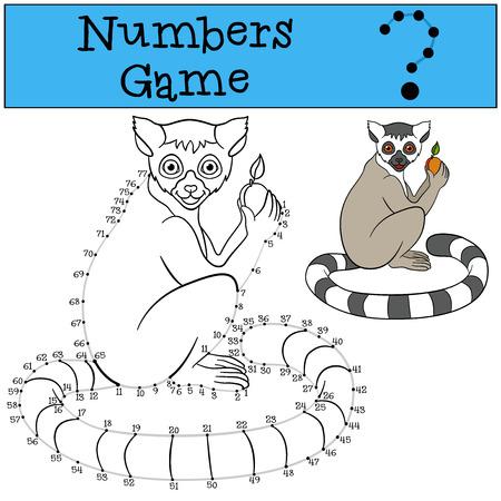 gioco educativo: i numeri gioco con contorno. Piccolo lemure carino si siede e sorride.