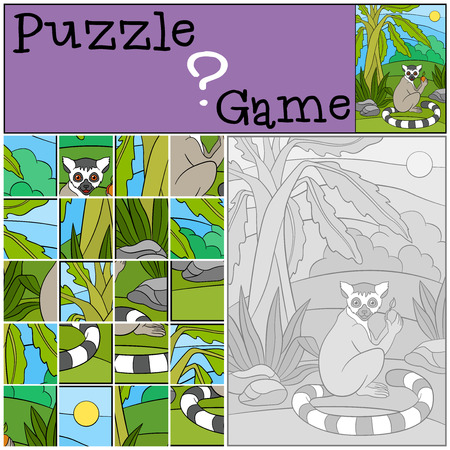 hid: Education game: Puzzle. Little cute lemur sits on the jungle and holds a fruit in hid hands.