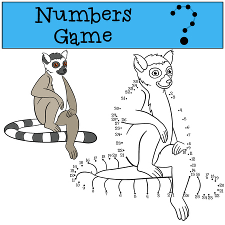 lemur: Educational game: Numbers game. Little cute lemur sits and smiles. Illustration