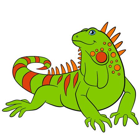 Cartoon animals. Cute green iguana sits and smiles.