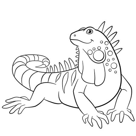 Coloriage. iguane Mignon est assis et sourit.