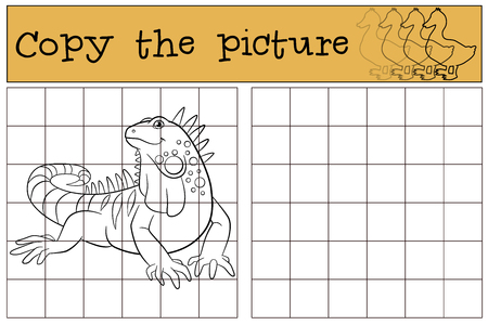 sits: Educational game: Copy the picture. Cute iguana sits and smiles.