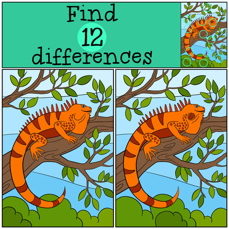 Educational game: Find differences. Cute iguana sits on the tree branch and smiles.