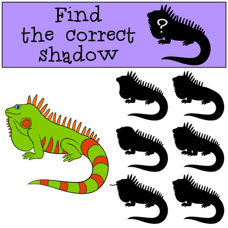 Educational game: Find the correct shadow. Cute green iguana sits and smiles. Illustration