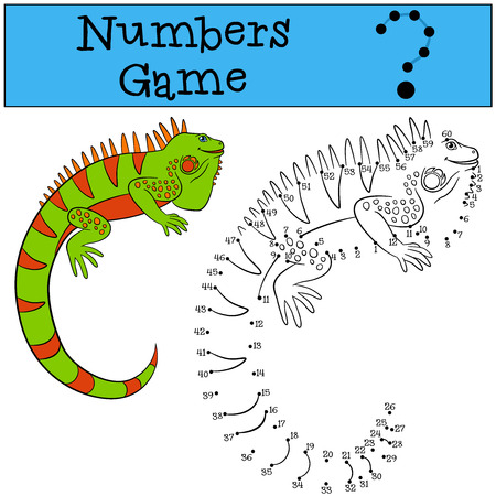 Educational game: Numbers game. Cute green iguana sits and smiles.