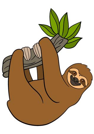 Cartoon dieren. Leuke lui luiaard hangt aan de boomtak en glimlacht.