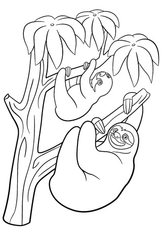 Coloring Pages Mother Sloth With Her Little Cute Baby Hangs