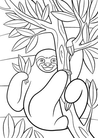 oso perezoso: Coloring pages. Cute lazy sloth hangs on the tree and smiles. Vectores