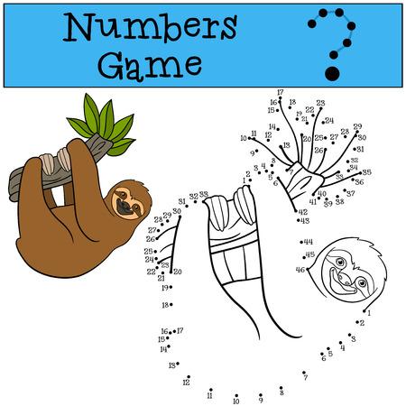 oso perezoso: Juego educativo: Números juego. pereza perezosa linda cuelga de la rama de un árbol y sonríe.