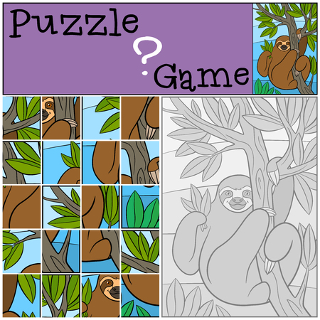 preliminary: Education game: Puzzle. Cute lazy sloth hangs on the tree branch and smiles.