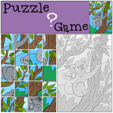 preliminary: Education game: Puzzle. Mother koala sits on the tree branch with her little cute baby and smiles.