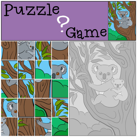 shape cub: Education game: Puzzle. Mother koala sits on the tree branch with her little cute baby and smiles.