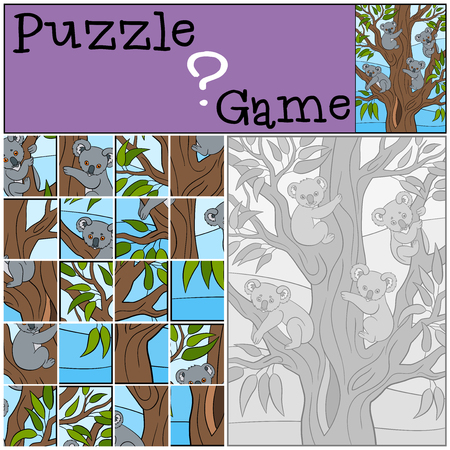 shape cub: Education game: Puzzle. Four little cute koala babies sit on the tree and smile.