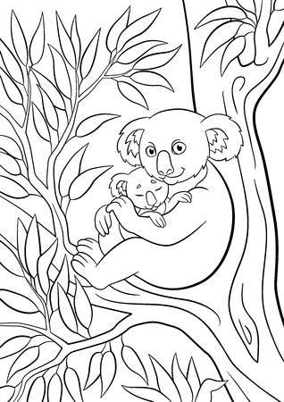 Páginas Para Colorear: Animales Salvajes. Madre Koala Se Sienta En ...