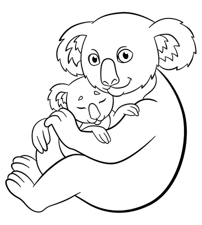 Páginas Para Colorear. El Pequeño Koala Lindo Del Bebé Se Sienta En ...