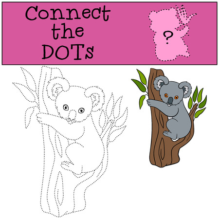 coloring sheets: Educational game: Connect the dots. Little cute baby koala sits on the tree branch and smiles. Illustration