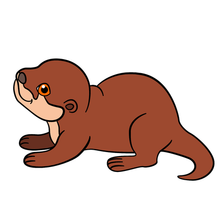 Cartoon animals. Little cute baby otter stands and smiles.