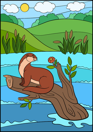 Cartoon animals. Little cute otter sits on the tree branch in the river and looks at the flower. Illustration
