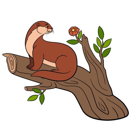 nutria caricatura: Animales de dibujos animados. Poco nutria linda se sienta en la rama de un árbol y mira a la flor.