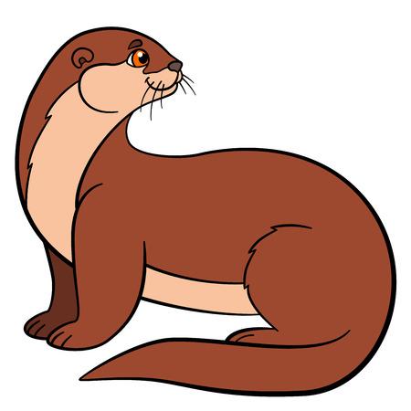 nutria caricatura: Animales de dibujos animados. Poco nutria linda se sienta y sonríe. Vectores