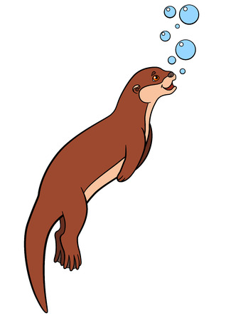 Cartoon animals. Little cute otter swims and smiles.