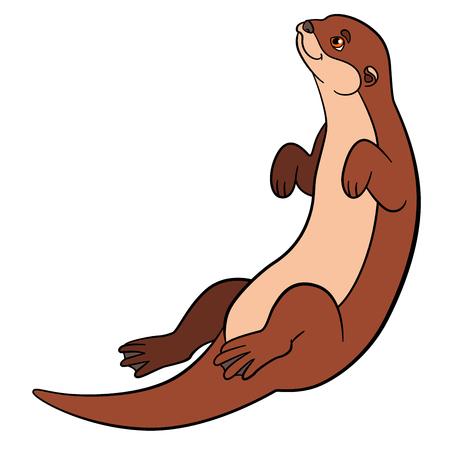 漫画の動物。小さなかわいいカワウソは泳ぐし、笑顔します。