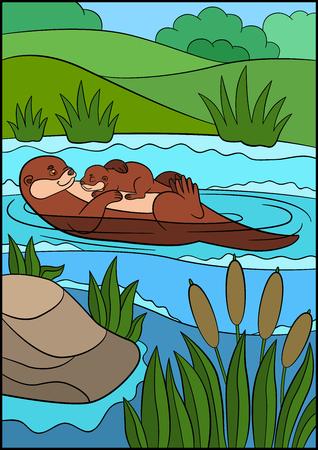 nutria caricatura: Animales de dibujos animados. Madre nutria nadando con su bebé durmiente lindo en el río y sonrisas.