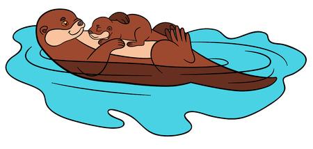 Animales de dibujos animados. Madre nutria nadando con su bebé durmiente lindo en el río y sonrisas.