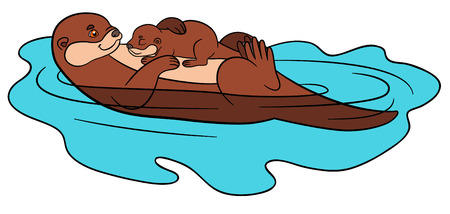 nutria caricatura: Cartoon animals. Mother otter swims with her sleeping cute baby in the river and smiles.