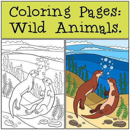 nutria caricatura: Páginas para colorear: animales salvajes. Dos pequeñas nutrias lindas nadar y una sonrisa en el río.