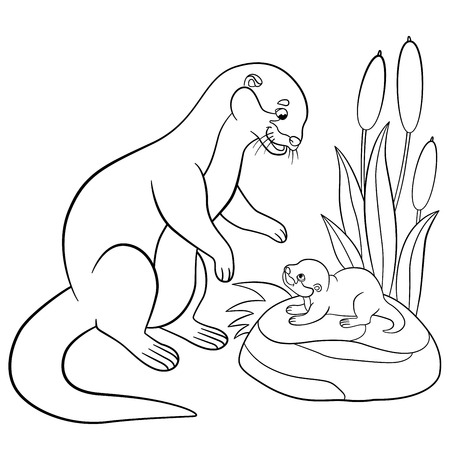 Coloring pages. Mother otter looks at her little cute baby and smiles.