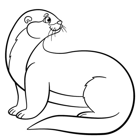 Coloring pages. Little cute otter stands and smiles. Illustration
