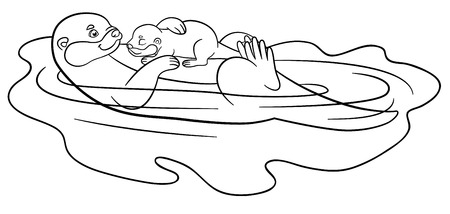 Coloring pages. Mother otter swims with her little cute baby and smiles.