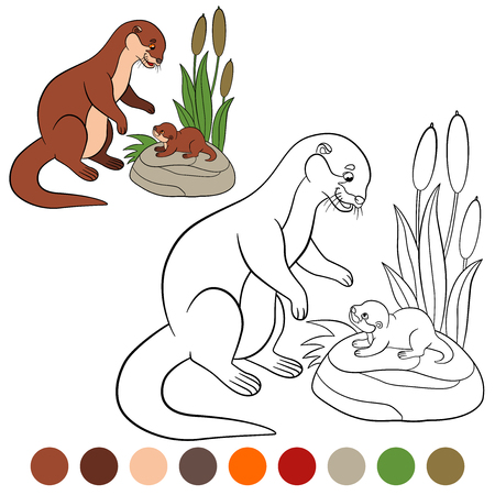 Coloring page. Mother otter looks at her little cute baby and smiles.
