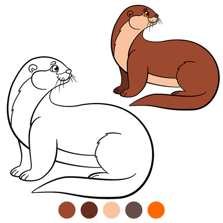Coloring page. Little cute otter stands and smiles. Illustration
