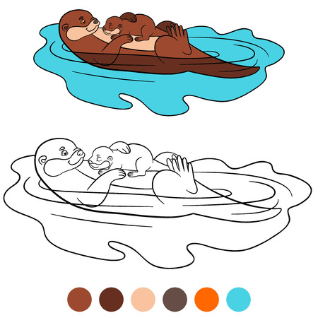 nutria caricatura: Coloring page. Mother otter swims with her little cute baby and smiles. Vectores