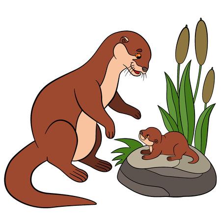 nutria caricatura: Animales de dibujos animados. Madre nutria mira a su pequeño bebé lindo y sonrisas.