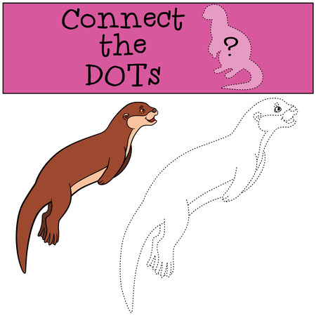 sea otter: Educational game: Connect the dots. Little cute otter swims and smiles.