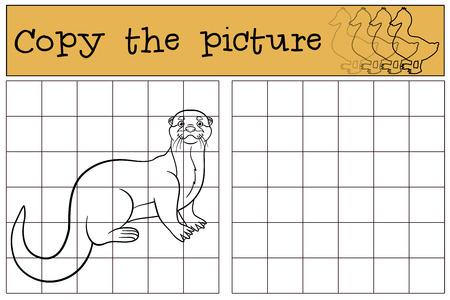 nutria caricatura: Juego educativo: Copiar la imagen. Poco nutria linda se coloca y sonríe.