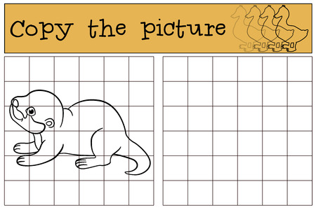 nutria caricatura: Educational game: Copy the picture. Little cute baby otter stands and smiles.