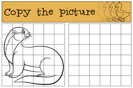 otter: Educational game: Copy the picture. Little cute otter stands and smiles.