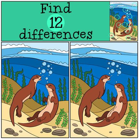 nutria caricatura: Juego educativo: Encuentra las diferencias. Dos pequeñas nutrias lindas nadan y sonrisa.
