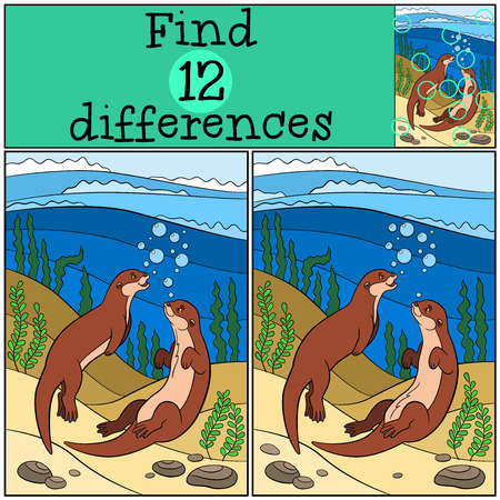 Educational game: Find differences. Two little cute otters swim and smile.