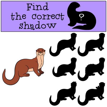Educatief spel: Zoek de juiste schaduw. Weinig leuke otter staat en glimlacht.