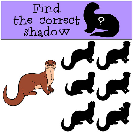Educational game: Find the correct shadow. Little cute otter stands and smiles.
