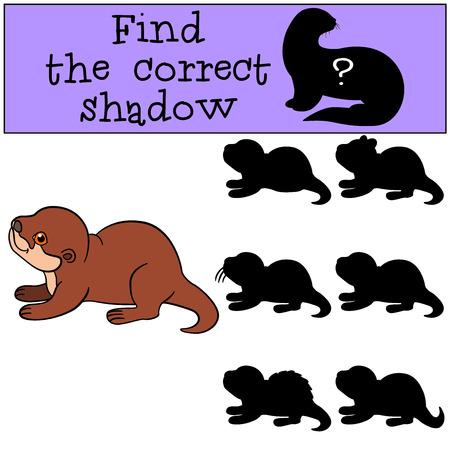 nutria caricatura: Juego educativo: Encontrar la sombra correcta. Nutria poco lindo bebé hace una pausa y sonríe.