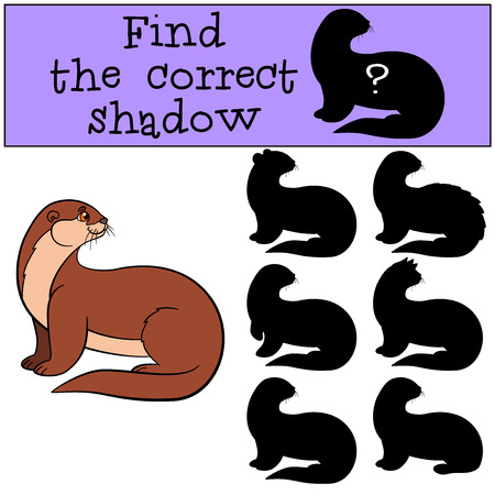 otter: Educational game: Find the correct shadow. Little cute otter stands and smiles.
